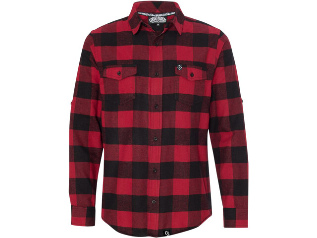 Loose Riders Flannel Camiseta Manga Larga Hombre, red